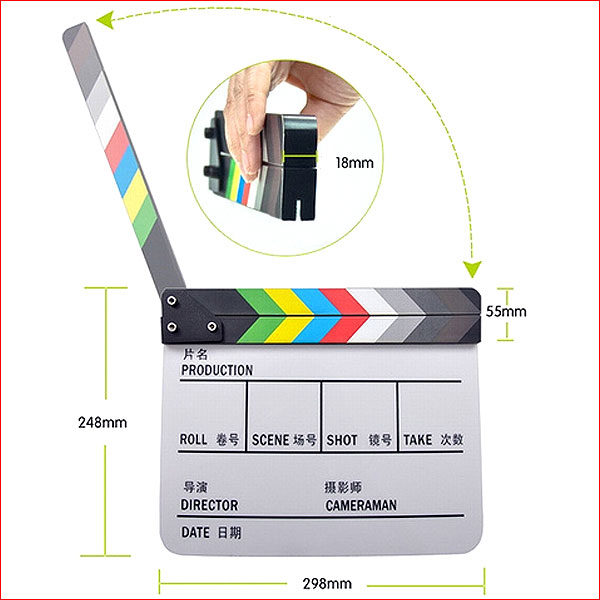 Видео-хлопушка пластиковая (цветная)
